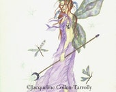 Sale: Fairy Art Print, Fairy Queen Fantasy Artwork, Crescent Moon Design, Dragonfly and Crystal,  Jacqueline Collen-Tarrolly