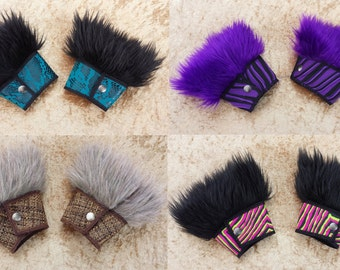 Custom Fur Cuffs, Choose your colors, Boho, Costume, Burning man, Festival Fashion, Rave, Performance, EDM, Cosplay, By Sandalamoon on Etsy