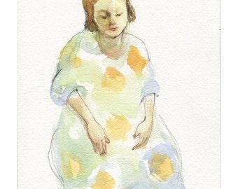 Woman figure portrait original watercolor painting people figurative