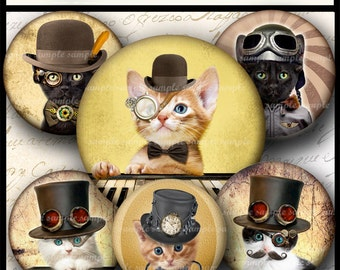 INSTANT DOWNLOAD Steampunk Cat (789) 4x6 and 8.5x11 16mm circles Printable  Digital Collage Sheet glass tiles cabochon earrings images