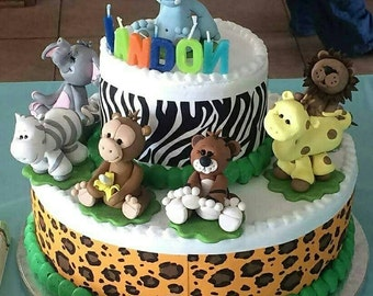Cake Topper Jungle Animals Baby Shower or Birthday Set of 7 Includes: Lion Giraffe Elephant Hippo Tiger Zebra Monkey  Custom Keepsake