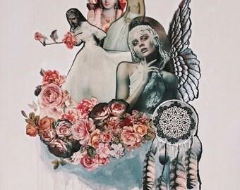 ANGELS, SAINTS & Spirit Guides - Art Greeting Card - print of original art collage by Annie Montgomery