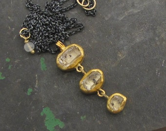 Herkimer Diamond Pendant - 24k Gold & Silver Necklace - Quartz Crystal Gold Necklace - Statement Necklace