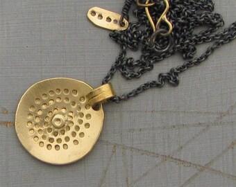 Mandala 14k Gold Pendant - 14k Solid Gold Pendant - Gold & Silver Necklace - Statement Necklace - Yoga Necklace