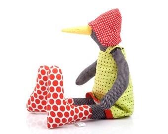 Black bird doll ,eco stuffed doll, bird plushie in dotted sock, red hat & green dress, Soft Sculpture doll, Baby Shower gift modern nursery