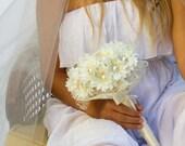 Bridal bouquet alternative bouquet silk flower bouquet ivory bouquet silk bouquet,pearl bouquet,fabric bouquet,bridal bouquet, daisy bouquet