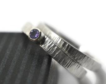 Tree Bark Wedding Set, Custom Engraved Tanzanite Engagement Ring, Engravable Silver Womens Bridal Wedding Band