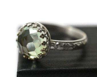 Green Amethyst Ring, Prasiolite Jewelry, Honeycomb Cut Green Gemstone, Artisan Made Sterling Silver Victorian Style Engagement Ring