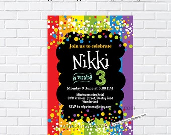 Rainbow Confetti Birthday Invitation for any age 1st 2nd 3rd 4th 5th 6th 7th kids party invite - card 987