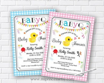 Baby shower bbq BabyQ Invitation , BBQ Chalkboard Invitation, Baby Q Babyque boy baby girl , two color to choose from, pink or blue card 517