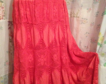 MED/LARGE, Crotched Cotton Bohemian Hippie FlowerChild Extra Long Skirt