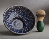 Shaving Bowl Ready To Ship Dark Blue Dottie Shaving Bowl by Symmetrical Pottery