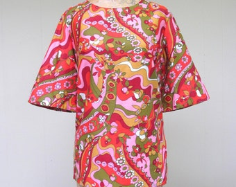 Vintage 1960s Blouse / 60s Cotton Sateen Psychedelic Floral Print Top / Medium