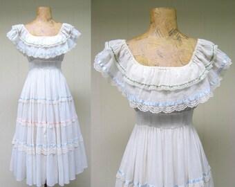 Vintage 1970s Dress / 70s Gunne Sax Gauze Peasant Wedding Dress / Medium
