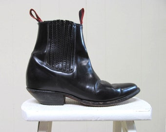 Vintage Mens Boots / Black Faux Leather Western Rockabilly Ankle Boots / Size 14 USA