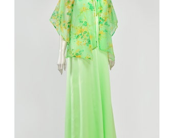 Vintage 70s Maxi Dress and Jacket Bohemian Dress Sheer Floral Green Dress Kimono Sleeve Jacket Boho Hippie Dress 1970s Evening Gown (L)