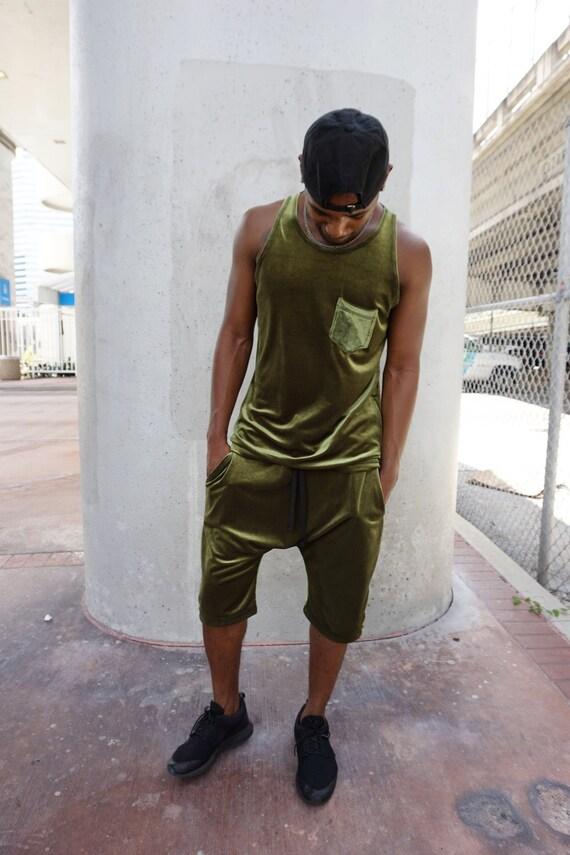 Olive Green Velvet Set / Tracksuit / Mens Shorts / Mens Tank