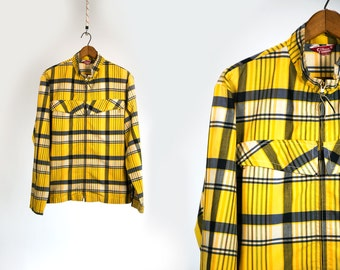 Vintage Vtg 1960's 60's 1970's Checkered Light Weight Yellow Plaid Metal Zip Up Summer Jacket Retro Hipster Mod Men's Women's Silton CA Med