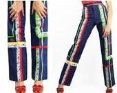 Vintage 70's Lace Ribbons  HIGH WAIST Pants Jeans Denim // Vintage Clothes by TatiTati Style on Etsy