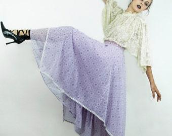 Skirt Vintage 70s MAXI Layered SCARF Lavender Roses Lace Calico Skirt / California // TatiTati Style on Etsy