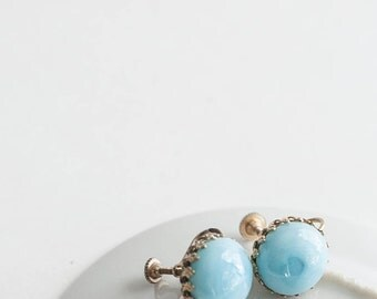 Light Blue Glass Screwback Earrings Gold Tone Button Simple Wedding Something Blue