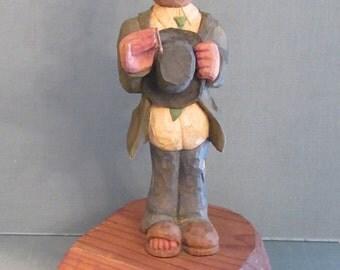 Caricature Carved by Austin Texas Artist Joe McMordie - Ol Whittlin Joe Folk Art Painted Wood Sculpture - OOAK Signed Original Figure