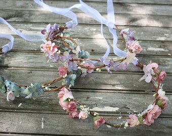 CUSTOM COLOR, Bridesmaide flower Crown, bridal headpiece, wedding flower crown, rustic head wreath, wedding headband, bridal hair