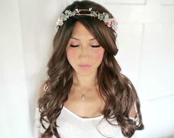Blue, Flower crown, wedding accessories, bridal headpiece, wedding flower crown, rustic head wreath, wedding headband, bridal hair