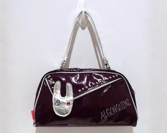 Algonquins Purse Japan Vintage Love Bunny Rabbit Handbag Purple Silver Metallic Trim Rhinestones Embroidered Nail Head Studs