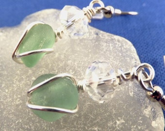 Seafoam sea glass with crystal rondelle, hypoallergenic nickel-free ear wires