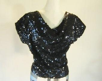 Shiny Black Cowl Neck Sequin Shirt Top Glam