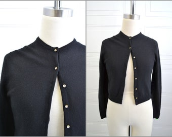 1950s Black Cardigan Sweater with Rhinestone Buttons