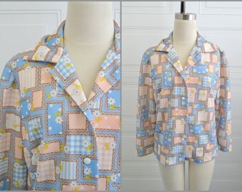 1970s Pink Daisy and Patchwork Print Polyester Shirt