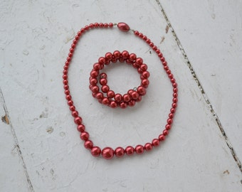 1950s Burgundy Pearl Necklace and Wrap Bracelet