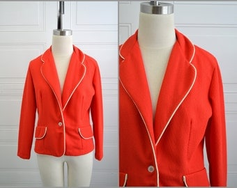 1960s Joan Curtis Red and White Blazer