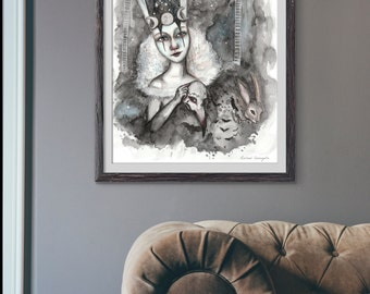 Giclée Art Print - The Tight Rope Walker - Watercolor Art-  Mixed Media - By Rachael Caringella Tree Talker Art