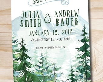 Watercolor Pine Tree Mountain Wedding Save the Date - Printable digital file or printed invitations