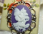 White on Purple 40 x 30 Fairy Cameo Pendant Necklace in Silverplate or Antique Silver