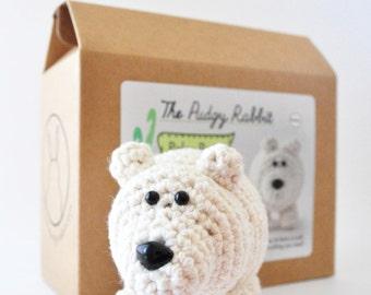 Crochet Polar Bear Kit, Amigurumi Kit, DIY Crochet Kit, Learn to Crochet Kit, DIY Craft