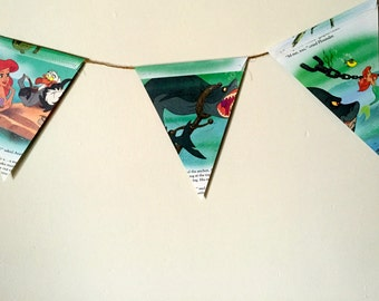 """Vintage little golden book """"THE LITTLE MERMAID""""  double sided bunting / banner."""