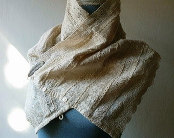 SALE Lace shawl handmade bohemian bolero in neutral ecru beige with antique lace. Eco fashion, boho, hippie, unique, OOAK