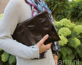 Unique leather clutch / leather evening clutch in very dark brown goat skin with beautiful raw edge front flap