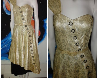1950's Sparkling Gold Lame Brocade Dress Asymmetrical Over Skirt Wiggle dress Glam Bombshell Pin Up Cocktail VLV
