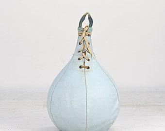 Vintage Leather Punching Bag, Punching Bag, Leather Punching Bag, Blue Punching Bag, Boxing Bag, Old Punching Bag, Old Sports Equipment
