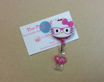 Nerdy Kitty Kat with Glasses - Retractable Badge Holder / Badge Reel - Ready to Ship