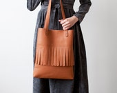 Rounded Fringe Brown Tote bag No.Tl- 6026 festival tassel