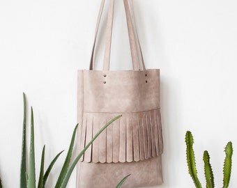 Nude Distressed Leather Fringe Tote bag No.tl- 9010