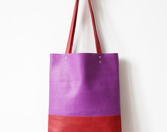 Rainbow SALE Purple Red Leather Tote bag