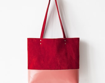 Rainbow SALE Coral Red & Peach Leather Tote bag No. TLh-102