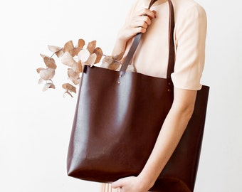 Xmas in July SALE Large Chestnut Brown Leather Tote bag No. Ltb-1501